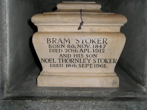 Dracula is Bram Stoker's most famous work. Notice he was cremated, not buried!